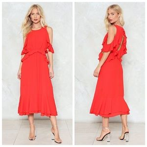 Nasty Gal Red Cut-out And About Ruffle Dress